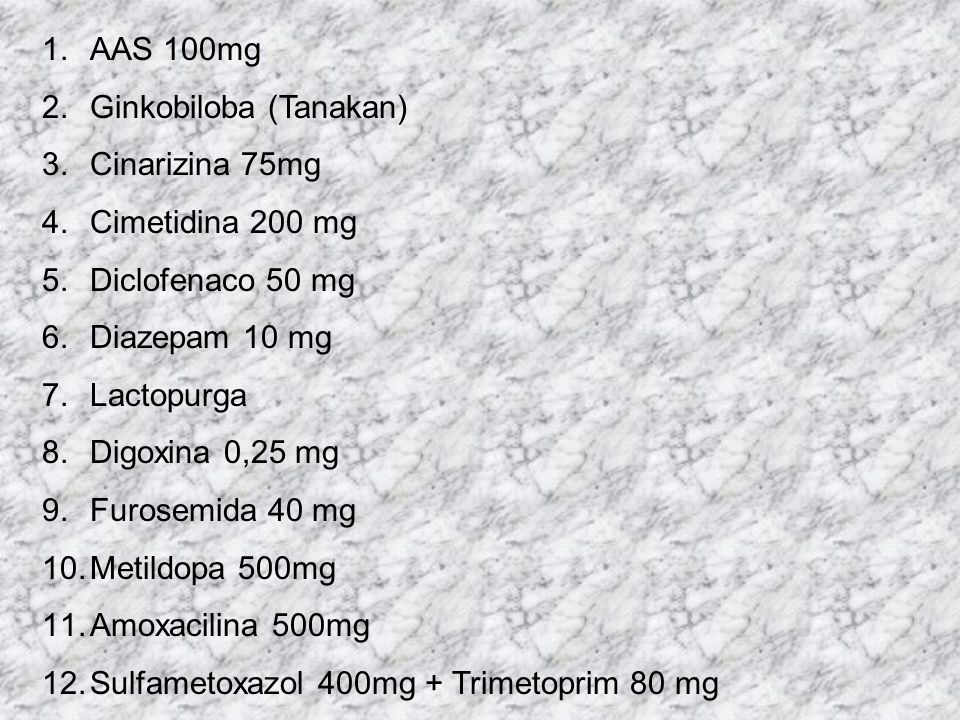 AAS 100mg Ginkobiloba (Tanakan) Cinarizina 75mg. Cimetidina 200 mg. Diclofenaco 50 mg. Diazepam 10 mg.