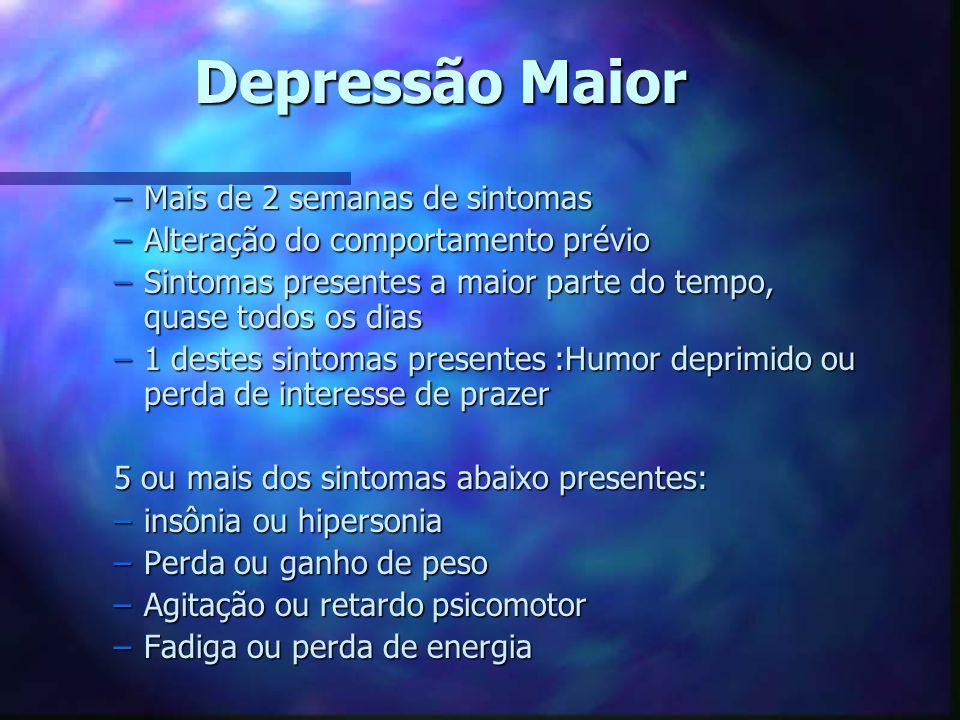 Depressão Maior Mais de 2 semanas de sintomas