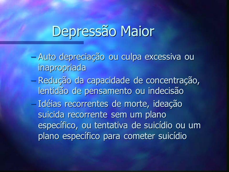 Depressão Maior Auto depreciação ou culpa excessiva ou inapropriada