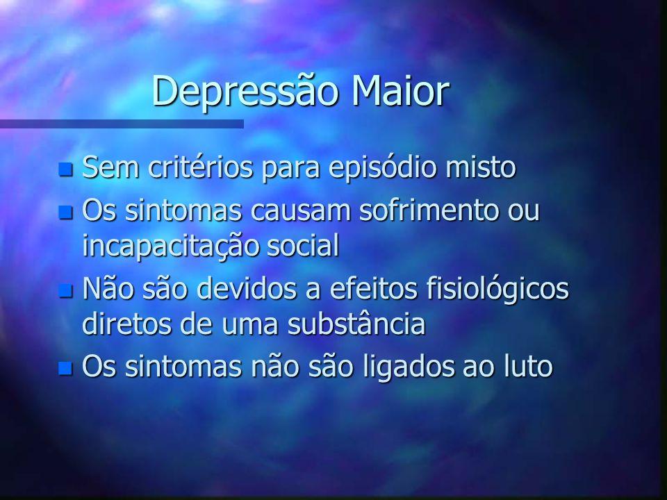 Depressão Maior Sem critérios para episódio misto