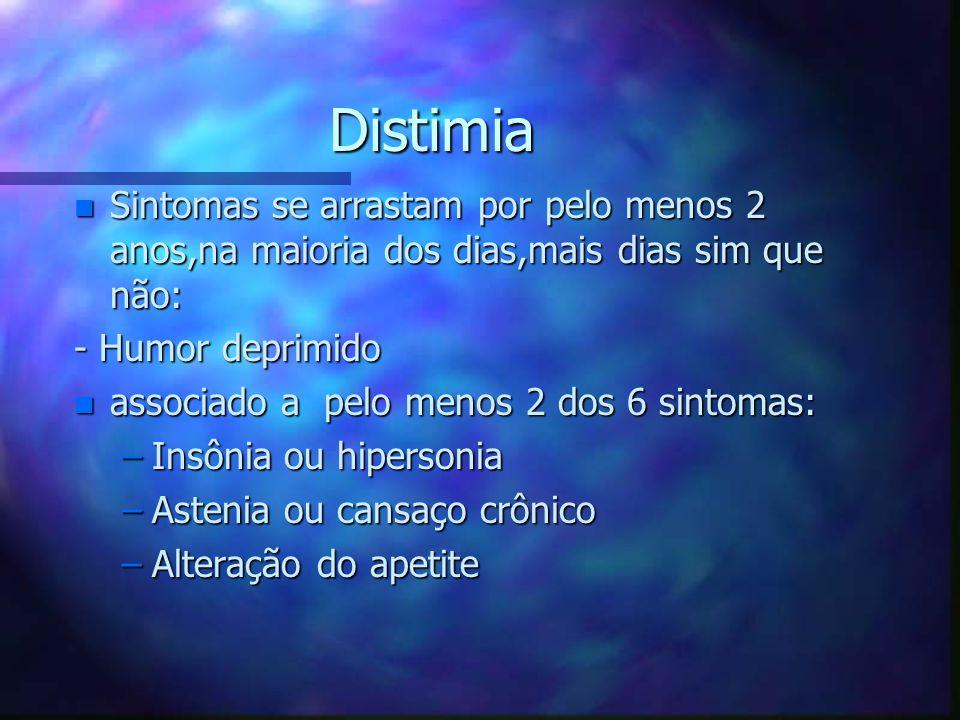 Distimia Sintomas se arrastam por pelo menos 2 anos,na maioria dos dias,mais dias sim que não: - Humor deprimido.