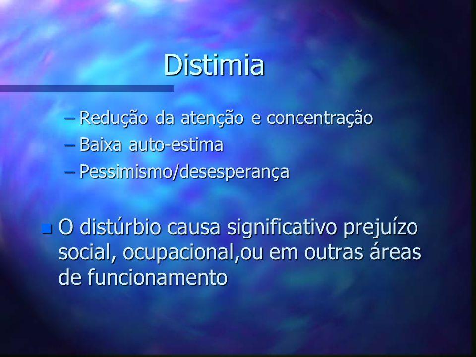 Distimia Redução da atenção e concentração. Baixa auto-estima. Pessimismo/desesperança.