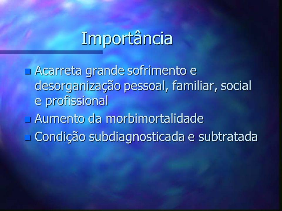 Importância Acarreta grande sofrimento e desorganização pessoal, familiar, social e profissional. Aumento da morbimortalidade.