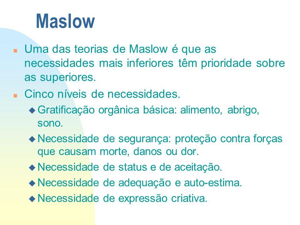 Maslow Uma das teorias de Maslow é que as necessidades mais inferiores têm prioridade sobre as superiores.