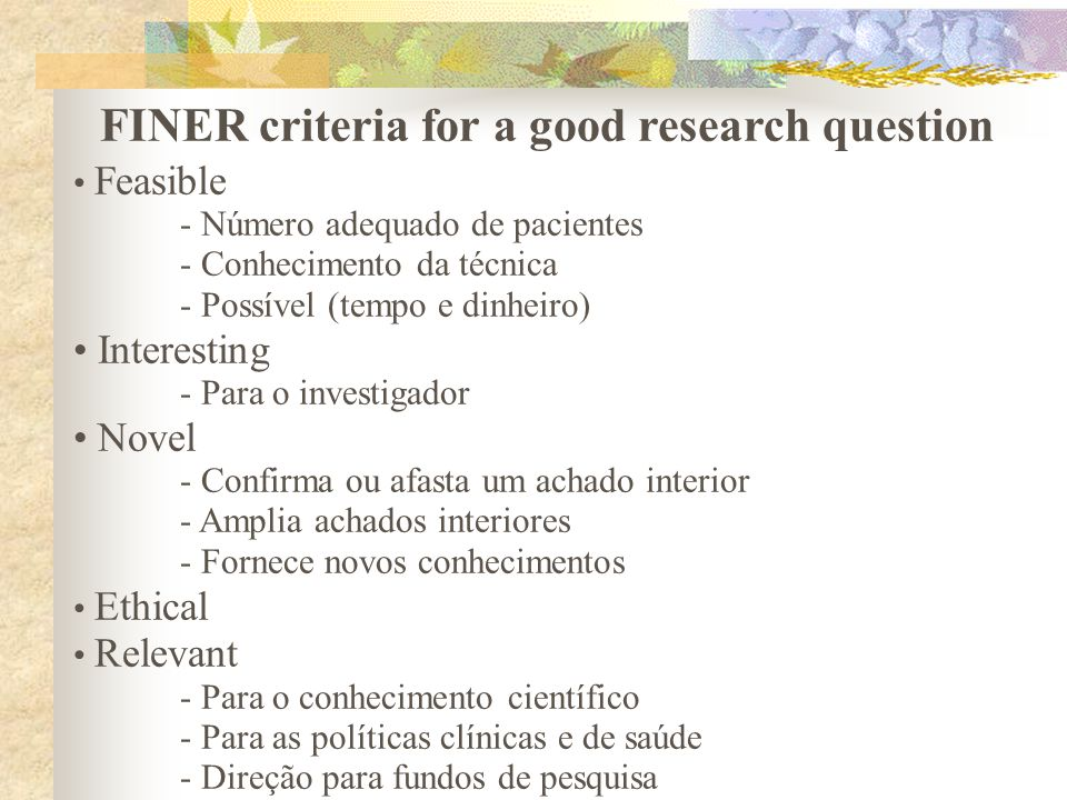 FINER criteria for a good research question