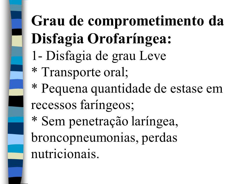 Grau de comprometimento da Disfagia Orofaríngea: 1- Disfagia de grau Leve * Transporte oral; * Pequena quantidade de estase em recessos faríngeos; * Sem penetração laríngea, broncopneumonias, perdas nutricionais.