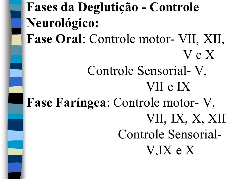 Fases da Deglutição - Controle Neurológico: Fase Oral: Controle motor- VII, XII, V e X Controle Sensorial- V, VII e IX Fase Faríngea: Controle motor- V, VII, IX, X, XII Controle Sensorial- V,IX e X