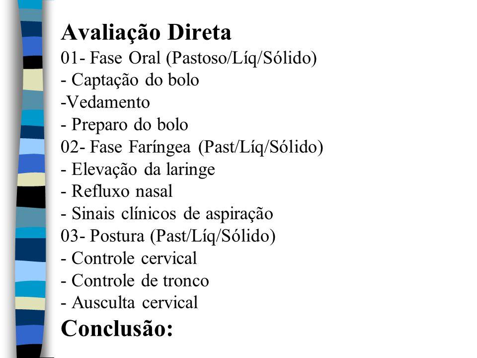 Avaliação Direta 01- Fase Oral (Pastoso/Líq/Sólido) - Captação do bolo -Vedamento - Preparo do bolo 02- Fase Faríngea (Past/Líq/Sólido) - Elevação da laringe - Refluxo nasal - Sinais clínicos de aspiração 03- Postura (Past/Líq/Sólido) - Controle cervical - Controle de tronco - Ausculta cervical Conclusão: