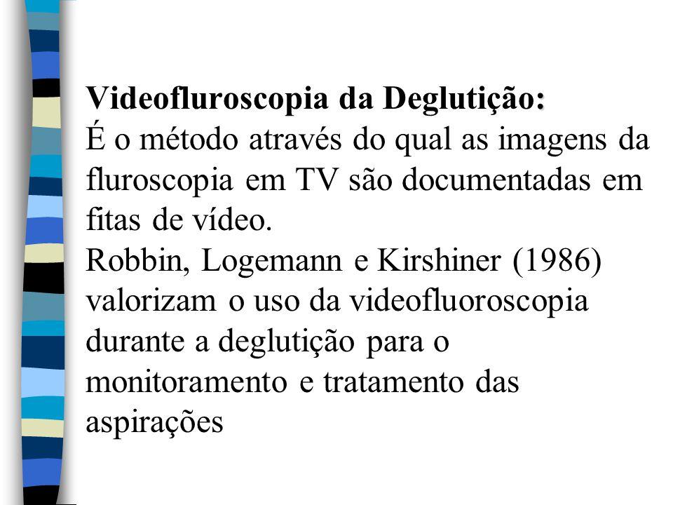 Videofluroscopia da Deglutição: É o método através do qual as imagens da fluroscopia em TV são documentadas em fitas de vídeo.