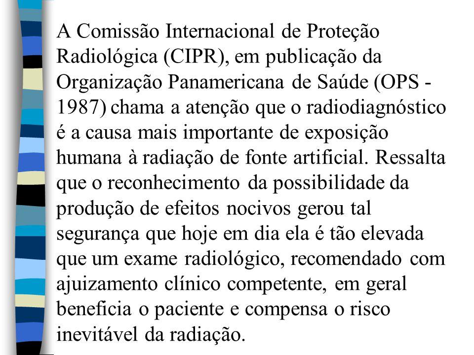 A Comissão Internacional de Proteção Radiológica (CIPR), em publicação da Organização Panamericana de Saúde (OPS - 1987) chama a atenção que o radiodiagnóstico é a causa mais importante de exposição humana à radiação de fonte artificial.