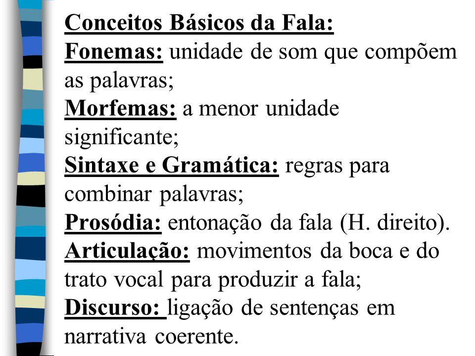 Conceitos Básicos da Fala: Fonemas: unidade de som que compõem as palavras; Morfemas: a menor unidade significante; Sintaxe e Gramática: regras para combinar palavras; Prosódia: entonação da fala (H.