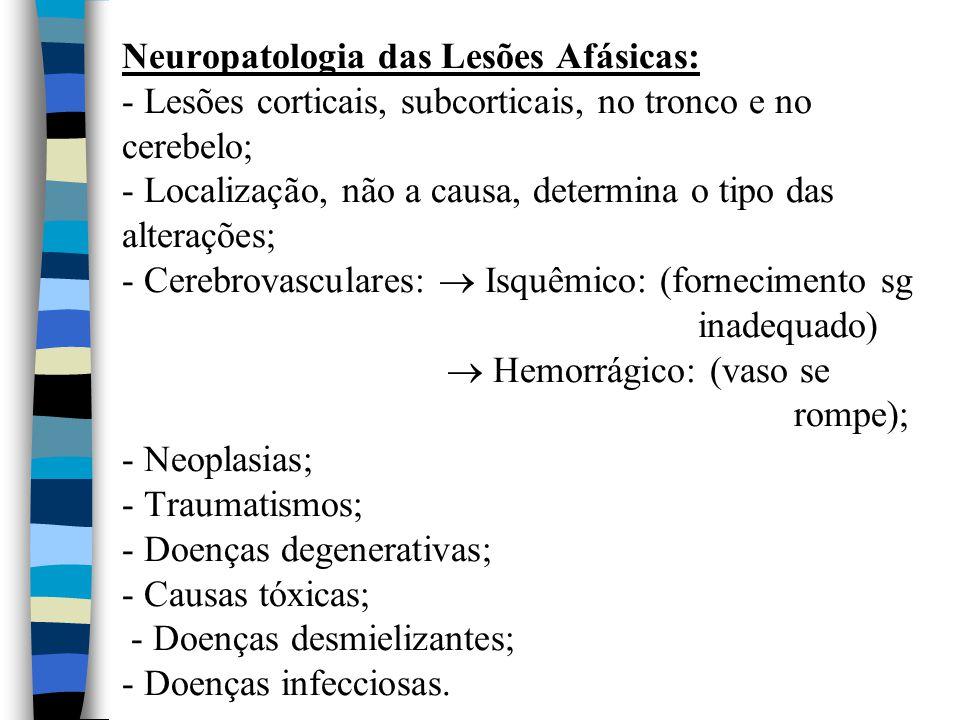 Neuropatologia das Lesões Afásicas: - Lesões corticais, subcorticais, no tronco e no cerebelo; - Localização, não a causa, determina o tipo das alterações; - Cerebrovasculares:  Isquêmico: (fornecimento sg inadequado)  Hemorrágico: (vaso se rompe); - Neoplasias; - Traumatismos; - Doenças degenerativas; - Causas tóxicas; - Doenças desmielizantes; - Doenças infecciosas.