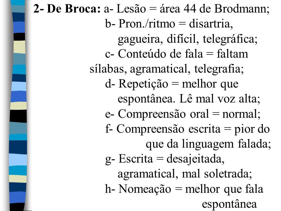 2- De Broca: a- Lesão = área 44 de Brodmann;. b- Pron