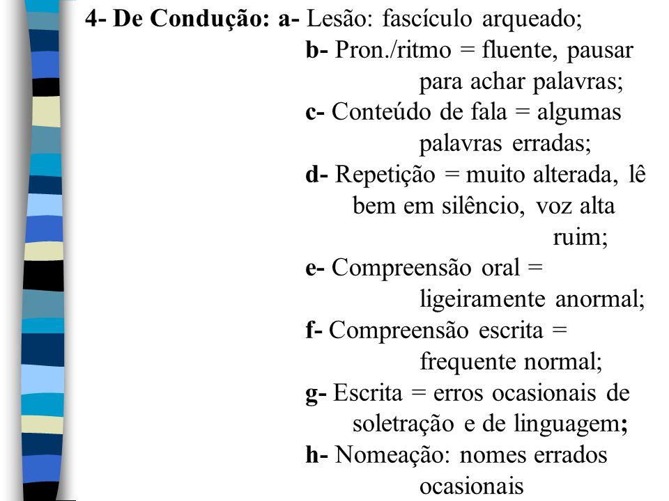 4- De Condução: a- Lesão: fascículo arqueado;. b- Pron