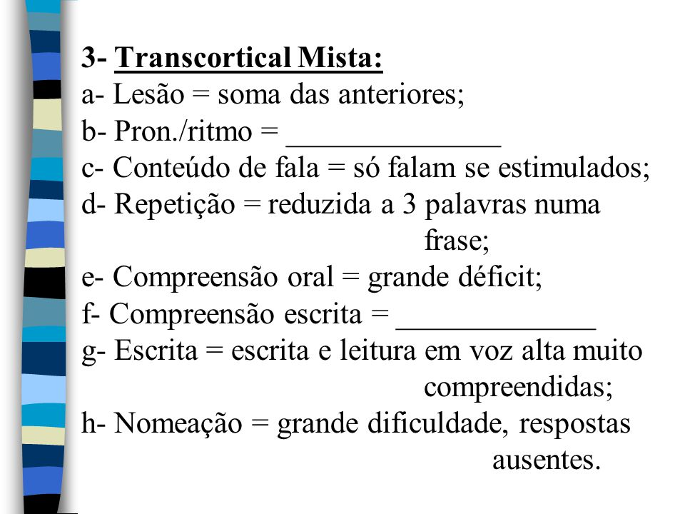 3- Transcortical Mista: a- Lesão = soma das anteriores; b- Pron