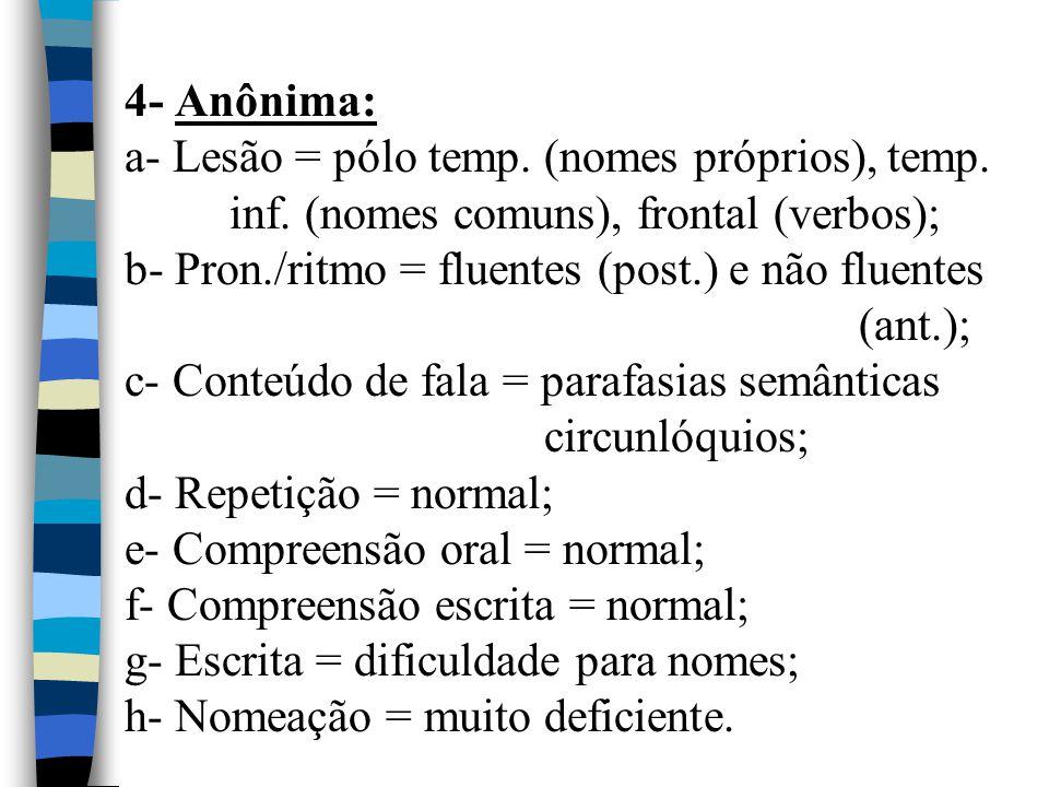 4- Anônima: a- Lesão = pólo temp. (nomes próprios), temp. inf