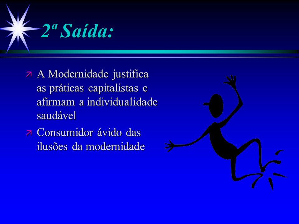 2ª Saída: A Modernidade justifica as práticas capitalistas e afirmam a individualidade saudável.