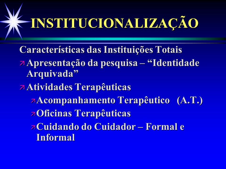 INSTITUCIONALIZAÇÃO Características das Instituições Totais
