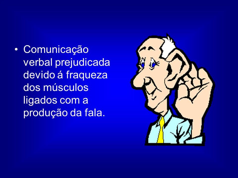 Comunicação verbal prejudicada devido á fraqueza dos músculos ligados com a produção da fala.