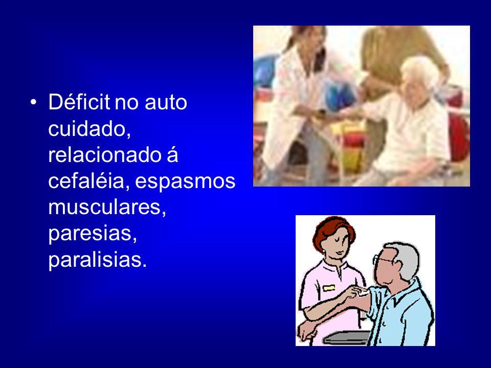 Déficit no auto cuidado, relacionado á cefaléia, espasmos musculares, paresias, paralisias.