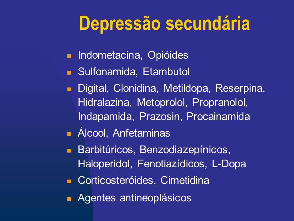 Depressão secundária Indometacina, Opióides Sulfonamida, Etambutol