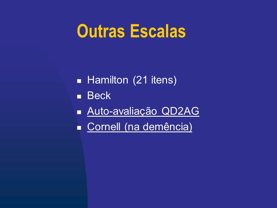Outras Escalas Hamilton (21 itens) Beck Auto-avaliação QD2AG