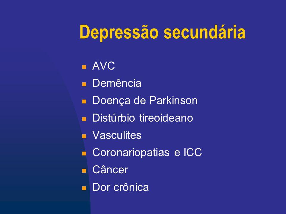 Depressão secundária AVC Demência Doença de Parkinson
