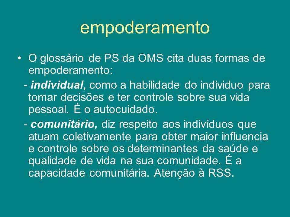 empoderamento O glossário de PS da OMS cita duas formas de empoderamento: