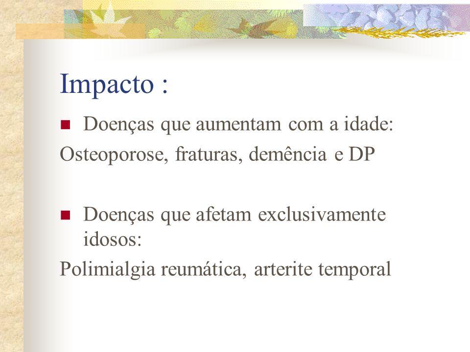Impacto : Doenças que aumentam com a idade:
