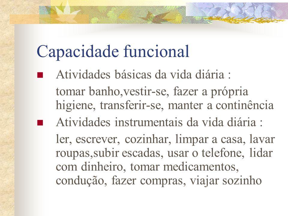 Capacidade funcional Atividades básicas da vida diária :
