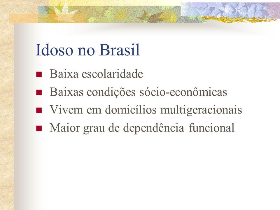 Idoso no Brasil Baixa escolaridade Baixas condições sócio-econômicas