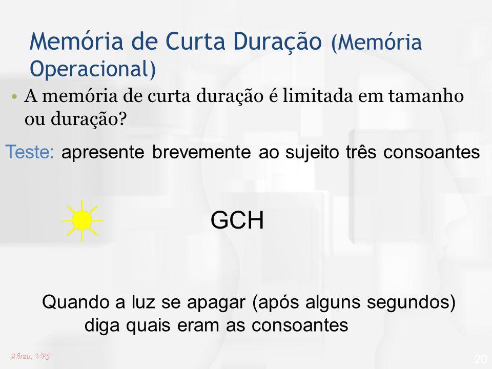 Memória de Curta Duração (Memória Operacional)