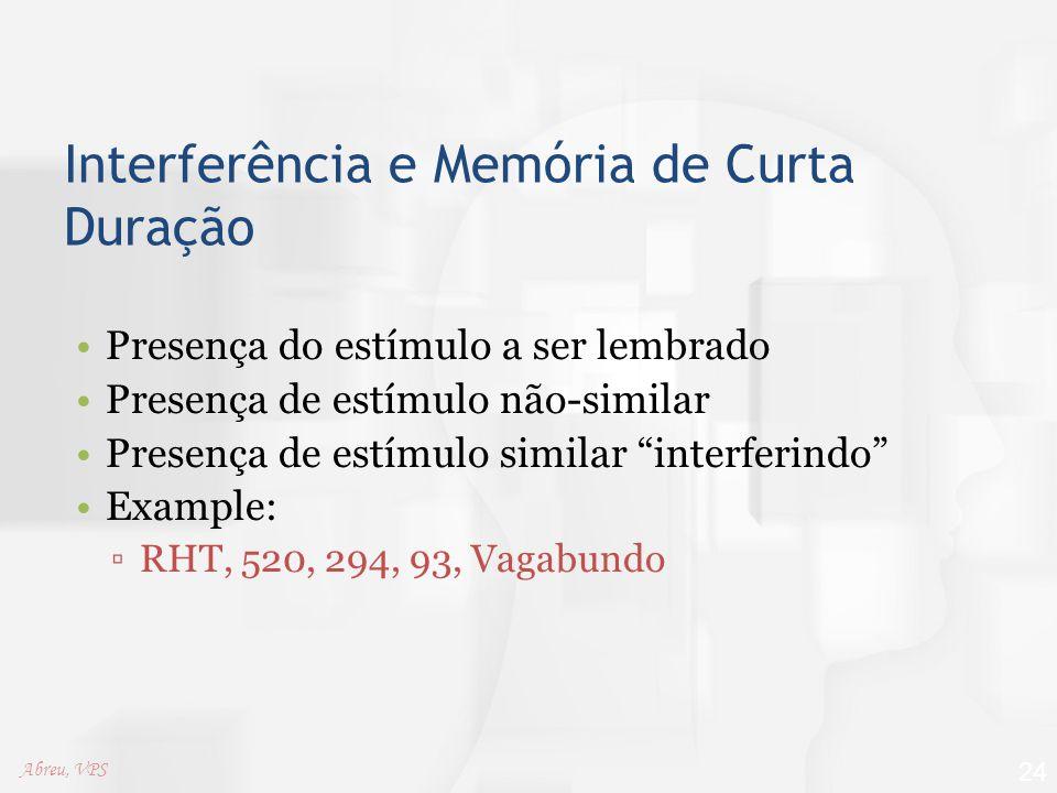 Interferência e Memória de Curta Duração