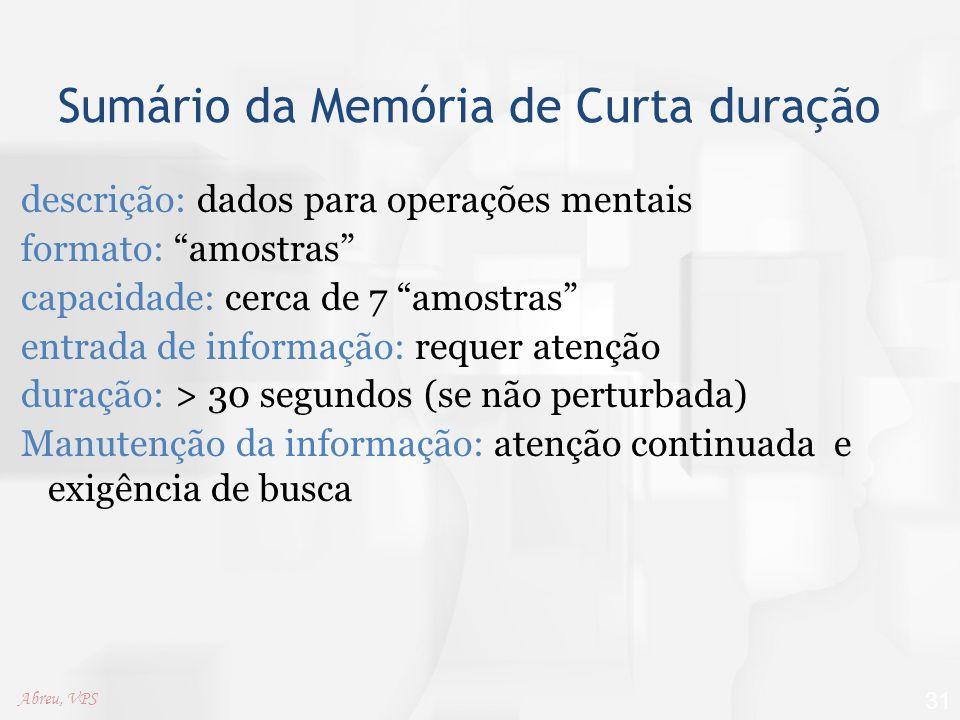Sumário da Memória de Curta duração