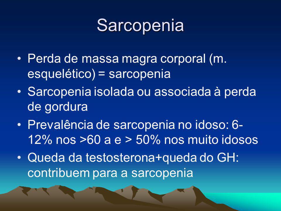 Sarcopenia Perda de massa magra corporal (m. esquelético) = sarcopenia