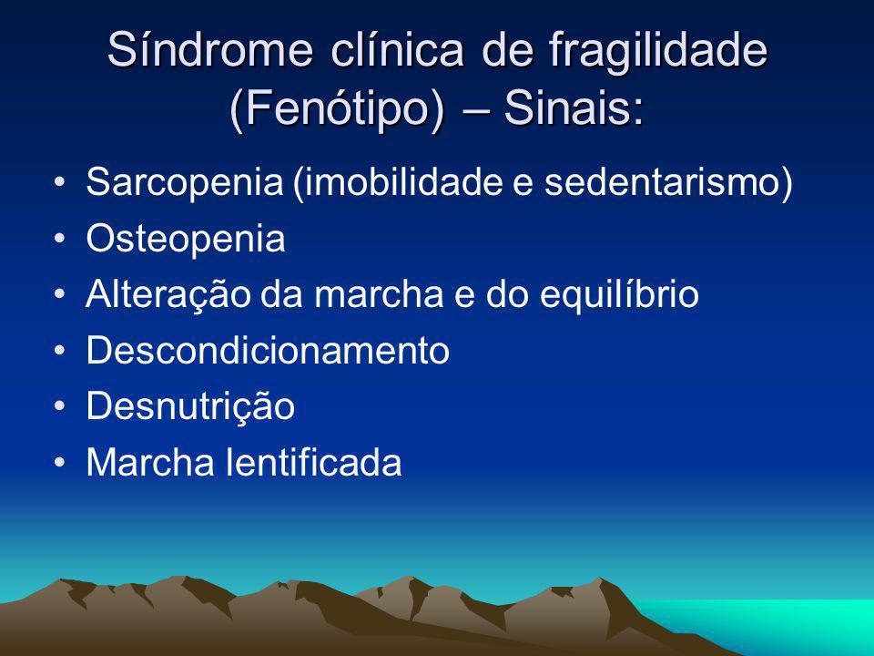 Síndrome clínica de fragilidade (Fenótipo) – Sinais: