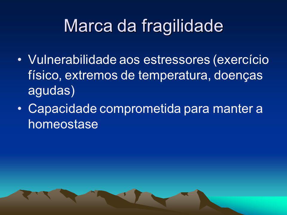 Marca da fragilidade Vulnerabilidade aos estressores (exercício físico, extremos de temperatura, doenças agudas)
