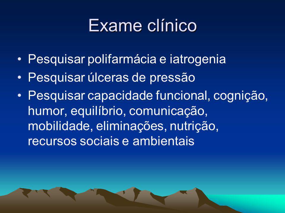 Exame clínico Pesquisar polifarmácia e iatrogenia