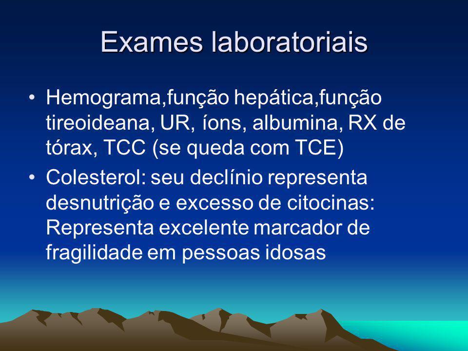 Exames laboratoriais Hemograma,função hepática,função tireoideana, UR, íons, albumina, RX de tórax, TCC (se queda com TCE)