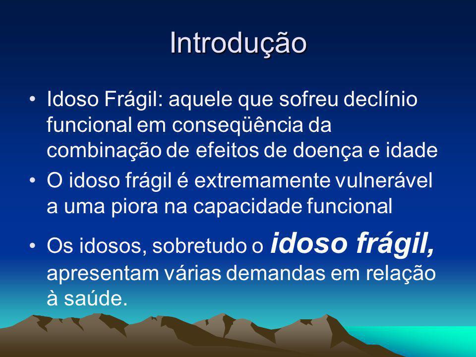 Introdução Idoso Frágil: aquele que sofreu declínio funcional em conseqüência da combinação de efeitos de doença e idade.