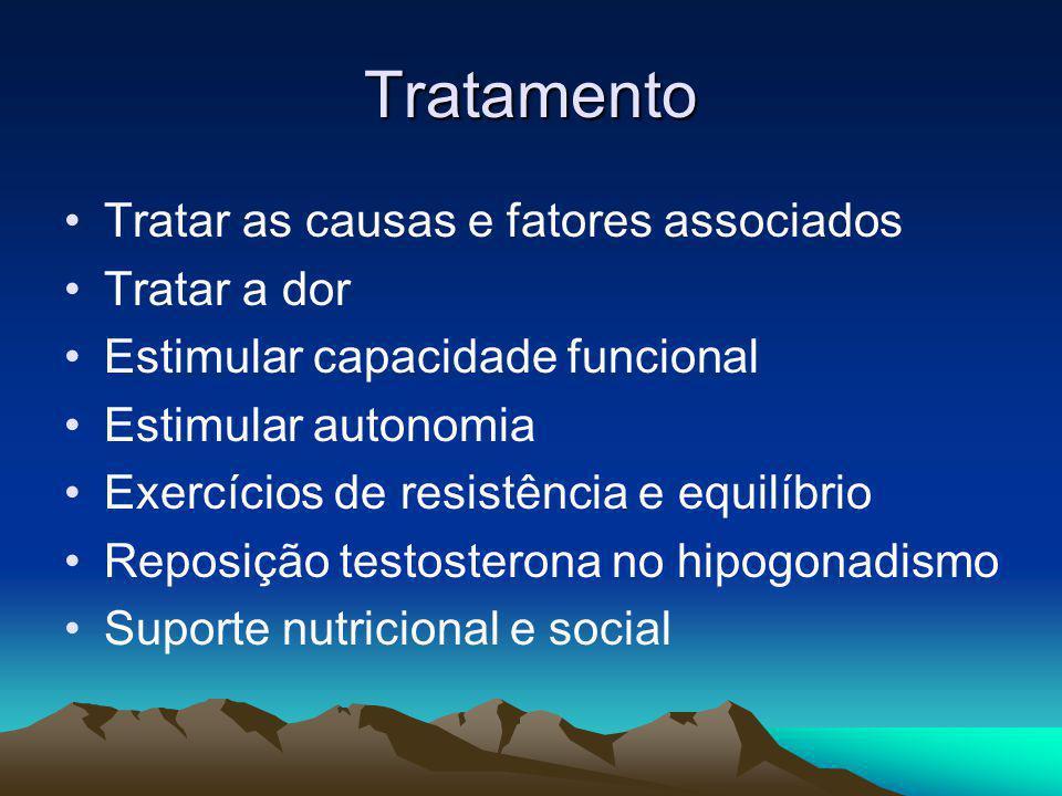 Tratamento Tratar as causas e fatores associados Tratar a dor