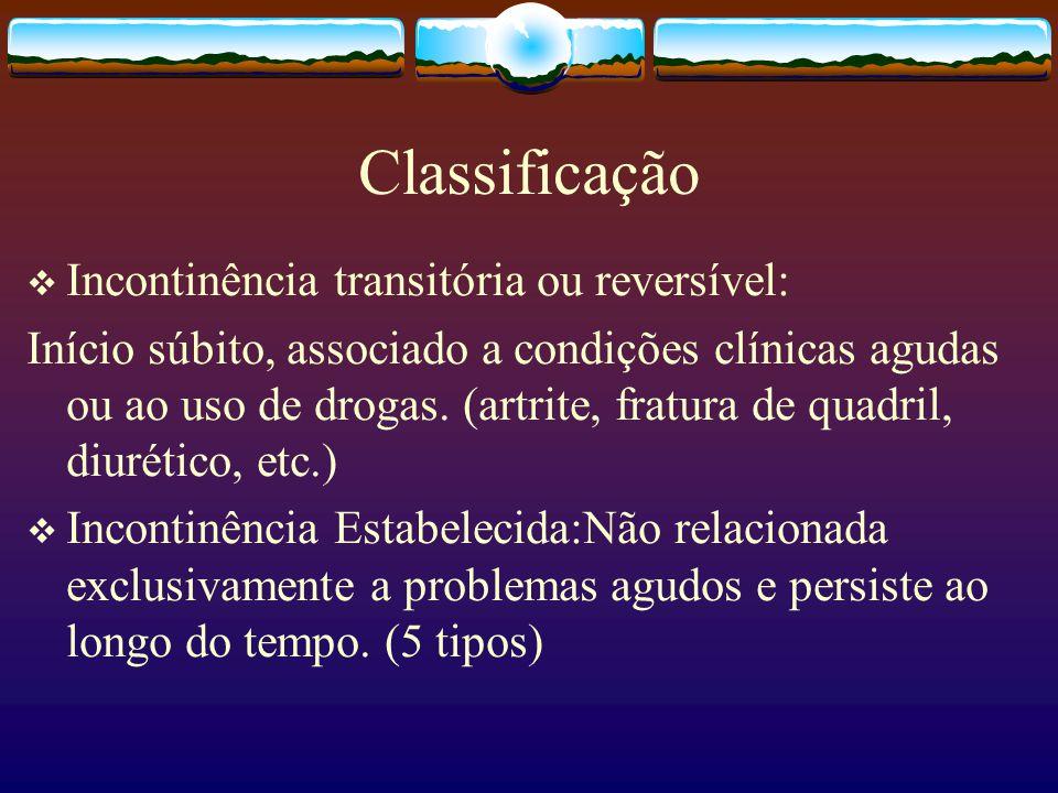 Classificação Incontinência transitória ou reversível: