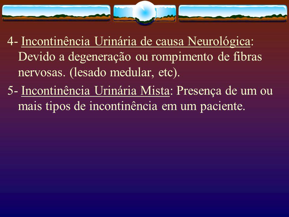 4- Incontinência Urinária de causa Neurológica: Devido a degeneração ou rompimento de fibras nervosas. (lesado medular, etc).