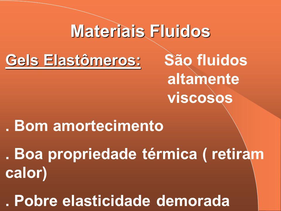 Materiais Fluidos Gels Elastômeros: São fluidos altamente viscosos