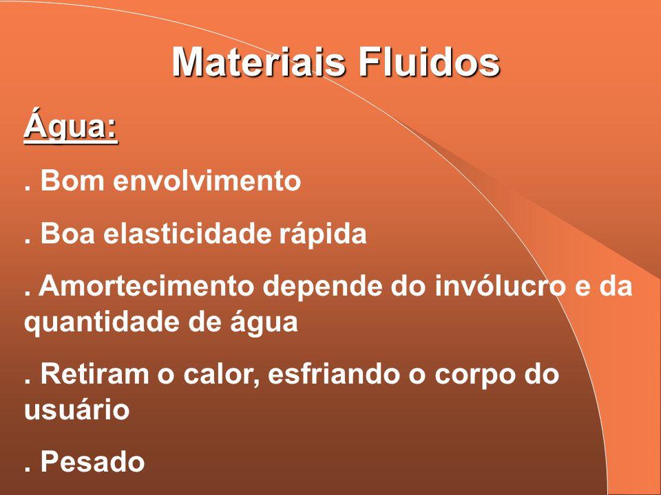 Materiais Fluidos Água: . Bom envolvimento . Boa elasticidade rápida