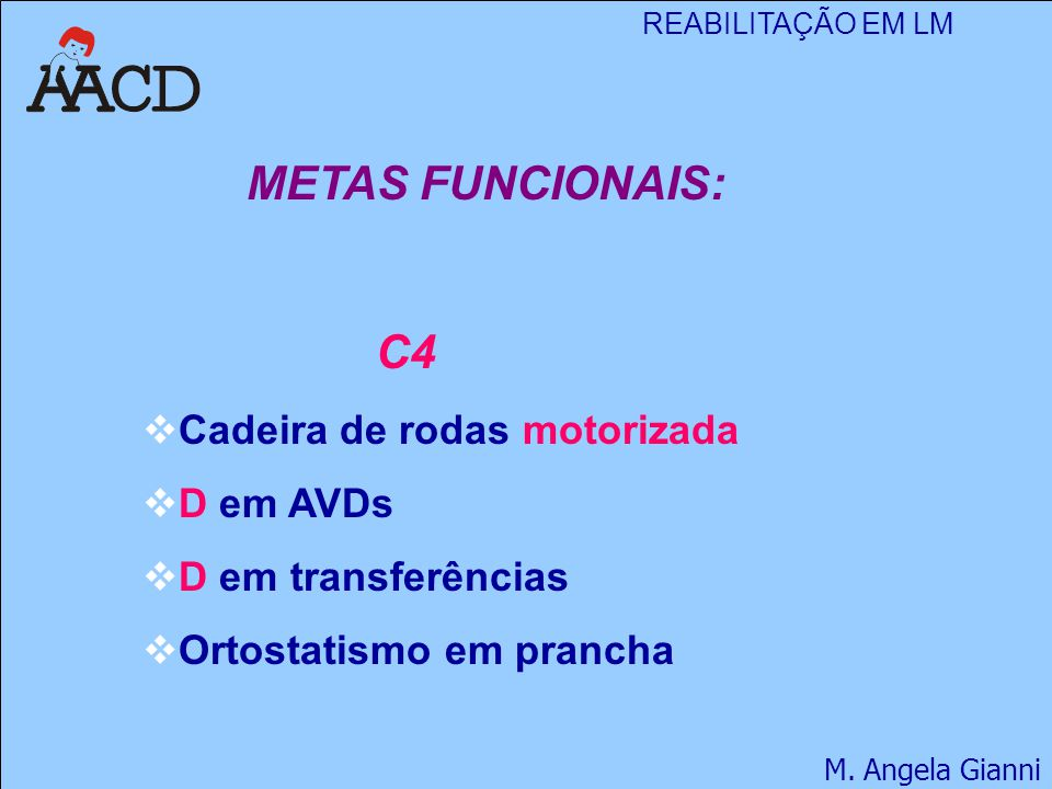 METAS FUNCIONAIS: C4 Cadeira de rodas motorizada D em AVDs