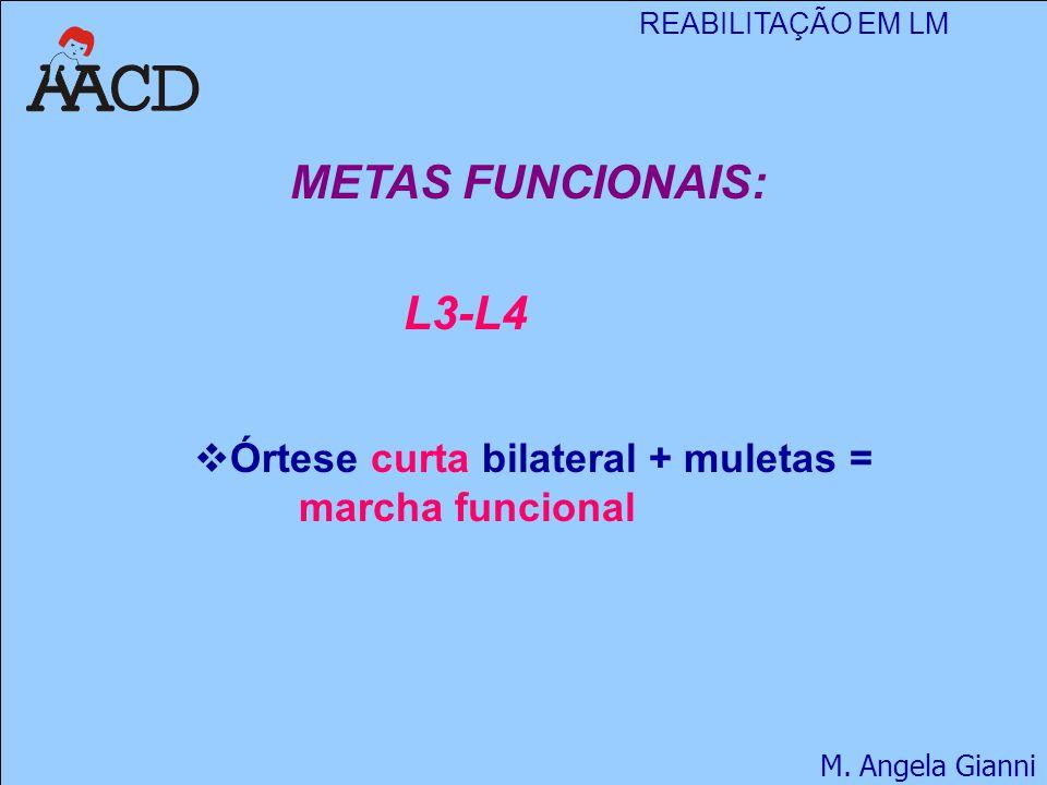 METAS FUNCIONAIS: L3-L4 Órtese curta bilateral + muletas = marcha funcional