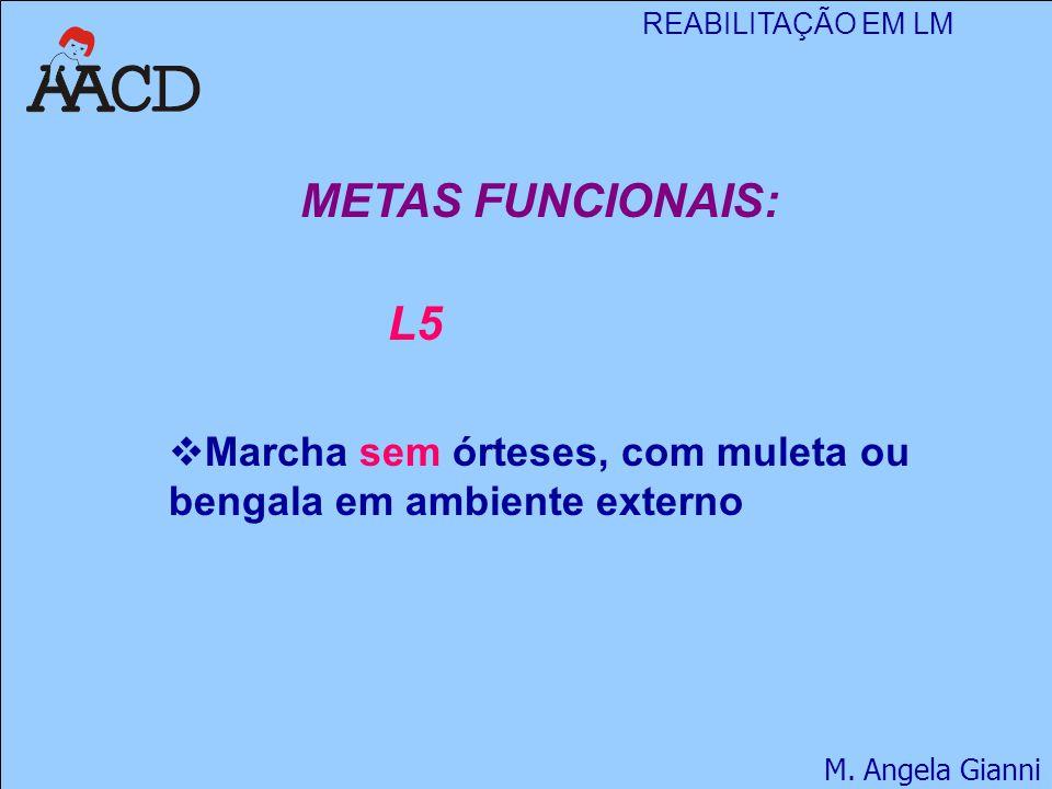 METAS FUNCIONAIS: L5 Marcha sem órteses, com muleta ou bengala em ambiente externo
