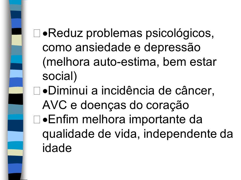 ·Reduz problemas psicológicos, como ansiedade e depressão (melhora auto-estima, bem estar social)