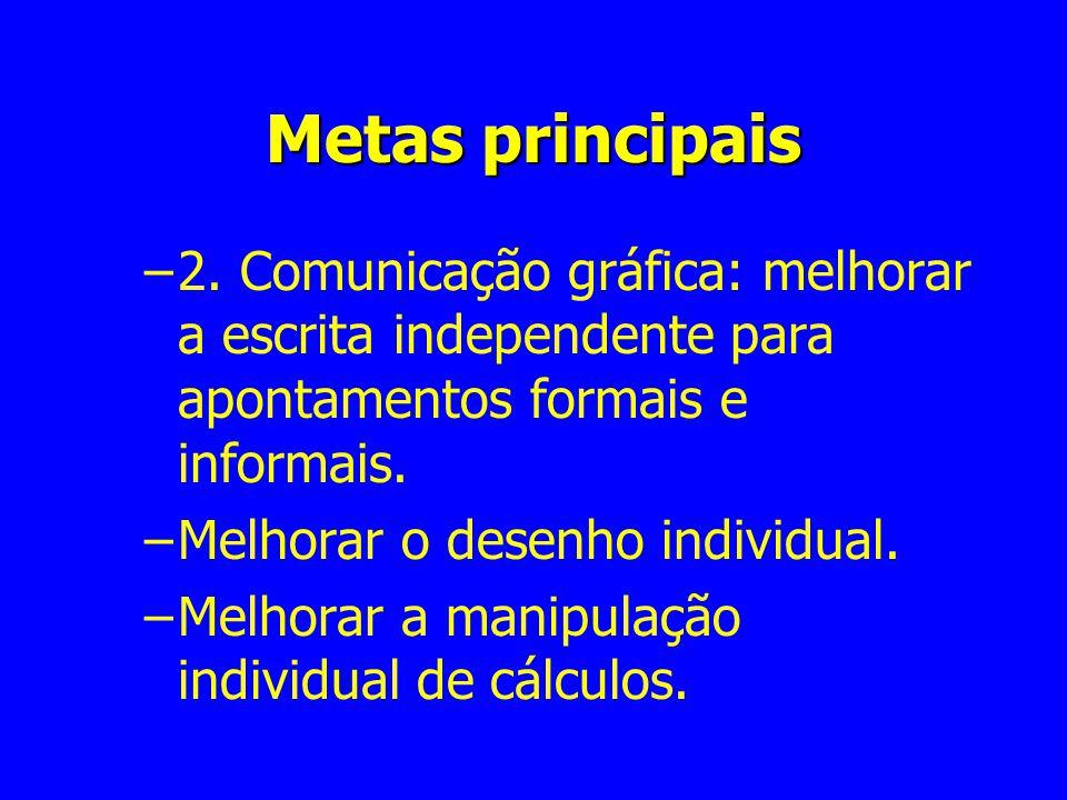 Metas principais 2. Comunicação gráfica: melhorar a escrita independente para apontamentos formais e informais.